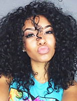 cheap -Remy Human Hair Lace Front Wig Wig Brazilian Hair Curly Layered Haircut 130% Density Natural Hairline / For Black Women Black Women's Short Human Hair Lace Wig