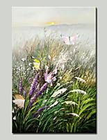 abordables -Pintura al óleo pintada a colgar Pintada a mano - Paisaje / Floral / Botánico Tradicional Lona
