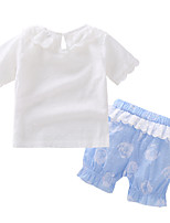cheap -Baby Girls' Solid Colored Short Sleeve Clothing Set