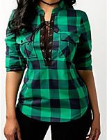 Недорогие -Жен. С принтом Рубашка Классический / Уличный стиль Шахматка