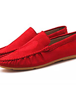 cheap -Men's Shoes Nappa Leather Fall Moccasin Loafers & Slip-Ons Black / Red / Khaki