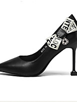 cheap -Women's Shoes Nappa Leather Summer Comfort Heels Stiletto Heel Closed Toe White / Black