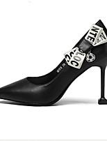 preiswerte -Damen Schuhe Nappaleder Sommer Komfort High Heels Stöckelabsatz Geschlossene Spitze Weiß / Schwarz