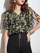 cheap -women's blouse - geometric v neck
