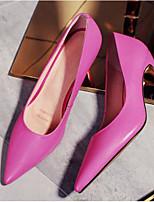baratos -Mulheres Sapatos Pele Napa Primavera Conforto / Plataforma Básica Saltos Salto Robusto Preto / Fúcsia / Rosa claro
