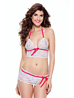 cheap -Women's Matching Bralettes Nightwear - Lace, Solid Colored