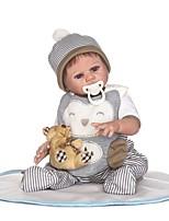 Недорогие -NPKCOLLECTION Куклы реборн Мальчики 22 дюймовый Полный силикон для тела / Винил - Искусственная имплантация Коричневые глаза Детские Мальчики Подарок