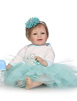 Недорогие -NPKCOLLECTION Куклы реборн Дети 24 дюймовый Силикон - как живой, Искусственные имплантации Голубые глаза Детские Универсальные Подарок