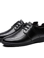 Недорогие -Муж. Кожа Лето Удобная обувь Туфли на шнуровке Черный / Коричневый
