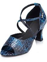 cheap -Women's Latin Shoes Satin Sandal Cuban Heel Dance Shoes Blue