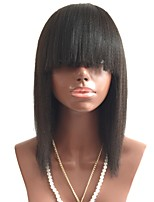 cheap -Remy Human Hair Lace Front Wig Wig Brazilian Hair Straight Bob Haircut / Short Bob 130% Density With Bangs Black Women's Short Human Hair Lace Wig