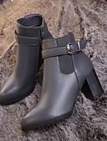 Недорогие -Жен. Обувь Полиуретан Зима Удобная обувь Ботинки На толстом каблуке Черный / Серый / Коричневый