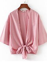 Недорогие -Жен. Рубашка Глубокий V-образный вырез Полоски