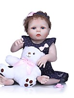 cheap -NPKCOLLECTION Reborn Doll Baby Girl 24 inch Full Body Silicone / Vinyl - lifelike, Artificial Implantation Blue Eyes Kid's Girls' Gift