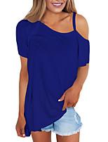 abordables -Mujer Camiseta, Hombros Caídos Un Color