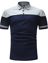 cheap -Men's Basic Polo - Color Block Patchwork