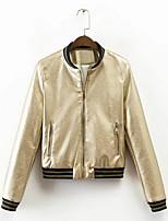 Недорогие -женская спортивная кожаная куртка - сплошной цвет