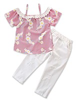 cheap -Baby Girls' Daisy Striped / Floral Short Sleeve Clothing Set