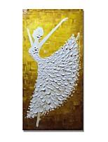 baratos -Pintura a Óleo Pintados à mão - Abstrato / Pessoas Contemprâneo / Modern Tela de pintura