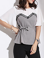 cheap -women's blouse - color block round neck