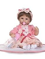 Недорогие -NPKCOLLECTION Куклы реборн Девочки 18 дюймовый Искусственная имплантация Коричневые глаза Детские Девочки Подарок