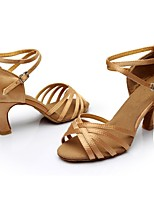 cheap -Women's Latin Shoes Satin Sandal / Heel Splicing Flared Heel Customizable Dance Shoes Nude