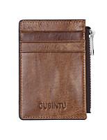 cheap -Men's Bags Cowhide Wallet Zipper Black / Coffee
