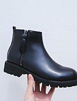 abordables -Femme Chaussures Cuir Automne hiver Botillons Bottes Block Heel Bout rond Bottine / Demi Botte Noir