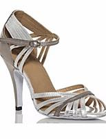 baratos -Mulheres Sapatos de Dança Latina Couro Sintético Salto Salto Alto Magro Sapatos de Dança Prata / Espetáculo / Ensaio / Prática