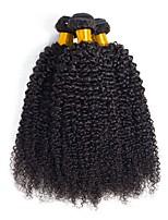 Недорогие -3 Связки Бразильские волосы Кудрявый Натуральные волосы Человека ткет Волосы / Удлинитель 8-28 дюймовый Естественный цвет Ткет человеческих волос Машинное плетение