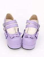 abordables -Doux / Lolita Classique / Traditionnelle Princesse Talon Bottier Chaussures Couleur Pleine / Nœud papillon 7.5 cm CM Violet Pour PU