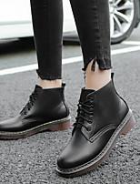 cheap -Women's Shoes Cowhide Winter Comfort Boots Low Heel White / Black