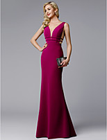 cheap -Sheath / Column V Neck Floor Length Spandex Prom / Formal Evening Dress with Sash / Ribbon by TS Couture® / See Through