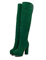 Недорогие -Жен. Обувь Замша Наступила зима Модная обувь Ботинки На толстом каблуке Круглый носок Сапоги выше колена Заклепки Коричневый / Зеленый / Темно-зеленый / Для вечеринки / ужина