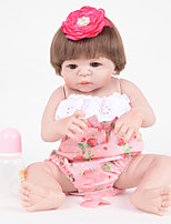 cheap -FeelWind Reborn Doll Baby Girl 22 inch Full Body Silicone - lifelike, Artificial Implantation Brown Eyes Kid's Girls' Gift