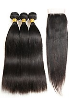 cheap -Brazilian Hair Straight One Pack Solution 3 Bundles With  Closure Human Hair Weaves Extention / Hot Sale Natural Black Human Hair Extensions Women's