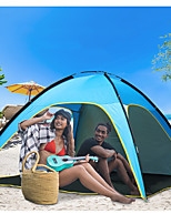cheap -4 person Beach Tent Single Layered Poled Camping Tent Outdoor Lightweight, Rain-Proof, Breathability for Beach / Camping / Hiking / Caving 1000-1500 mm Terylene 210*210*130 cm