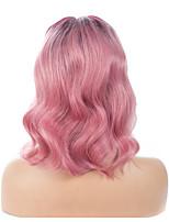 cheap -Remy Human Hair Lace Front Wig Brazilian Hair / Natural Wave Wavy Short Bob 130% Density With Bleached Knots Short Women's Human Hair