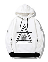 cheap -Men's Basic Long Sleeve Hoodie - Geometric / Letter, Print Hooded