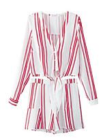 Недорогие -Жен. Классический Рубашка Брюки - С принтом, Полоски Глубокий V-образный вырез / Лето