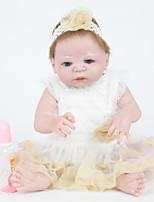 Недорогие -FeelWind Куклы реборн Девочки 22 дюймовый Полный силикон для тела - как живой, Искусственные имплантации Голубые глаза Детские Девочки Подарок