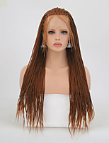 cheap -Synthetic Lace Front Wig Matte Braid Synthetic Hair Natural Hairline Brown Wig Women's Long Lace Front Wig / Yes