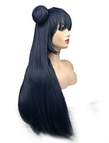 cheap -Cosplay & Costume Wigs Straight Layered Haircut Synthetic Hair Synthetic Blue Wig Women's Long Capless / Yes
