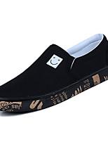 baratos -Homens sapatos Lona Verão Conforto Mocassins e Slip-Ons Branco / Preto / Cinzento