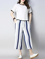 cheap -Women's Chinoiserie / Sophisticated Set - Solid Colored / Striped Pant