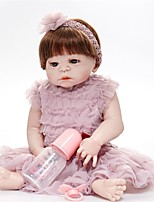 cheap -FeelWind Reborn Doll Baby Girl 22 inch Full Body Silicone - lifelike, Artificial Implantation Brown Eyes Kid's Gift