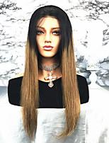 abordables -Cheveux Rémy Dentelle frontale Perruque Cheveux Brésiliens Droit 130% Densité Long Femme Perruque Naturelle Dentelle