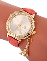 cheap -Xu™ Women's Dress Watch / Wrist Watch Chinese Creative / Casual Watch / Lovely PU Band Eiffel Tower / Fashion Black / White / Blue / Imitation Diamond / Large Dial / One Year