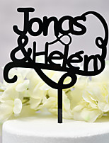 cheap -Cake Topper Classic Theme / Wedding New / Hollow Acryic / Polyester Wedding / Anniversary with Acrylic 1 pcs OPP