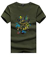 abordables -Mujer Tallas Grandes Algodón Camiseta Un Color / Geométrico